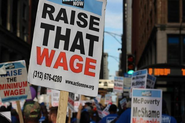 A rally for a $15 per hour minimum wage in Chicago.