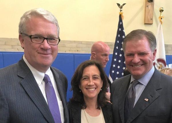 Illinois House GOP Leader Jim Durkin, Illinois Education Secretary Beth Purvis, and Illinois Senate GOP Leader Bill Brady.