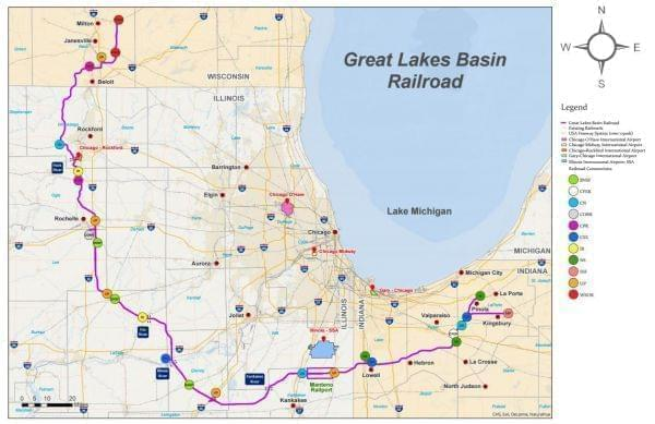 A map of the proposed Great Lakes Basin Railroad, which was rejected Friday by the Surface Transportation Board.