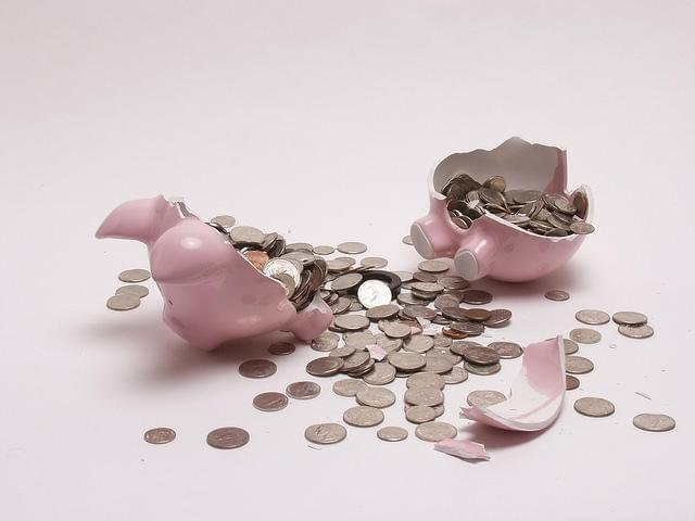 A broken piggy bank.