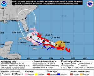National Hurricane Center projection of Irma's path as of 8 p.m. AST Wednesday.