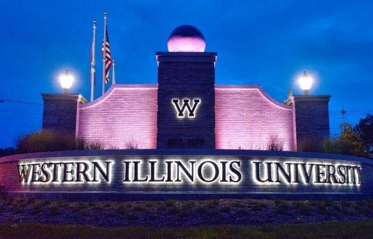 Entrance to Western Illinois University in Macomb.