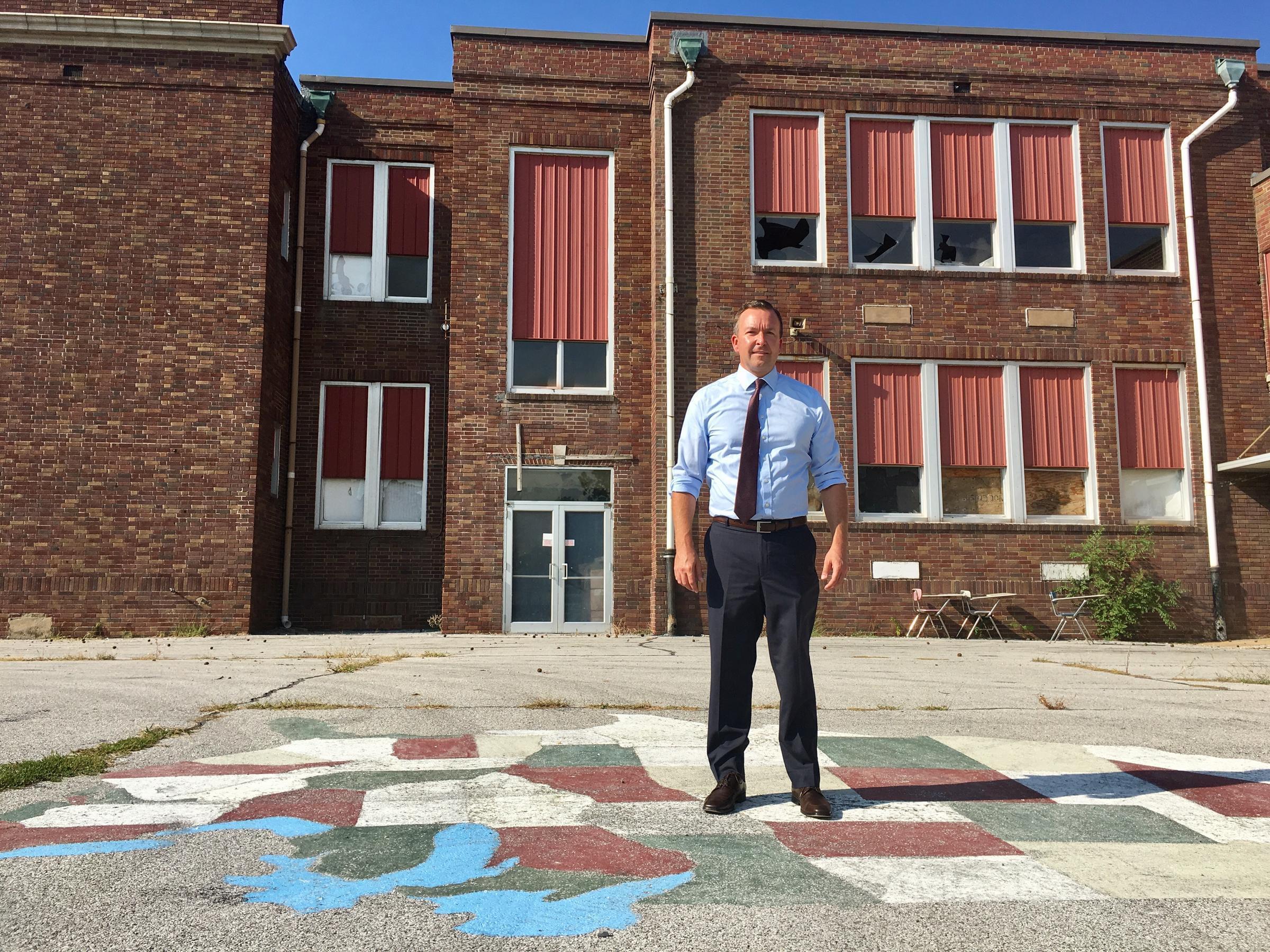 State Sen. Andy Manar outside Meissner School.