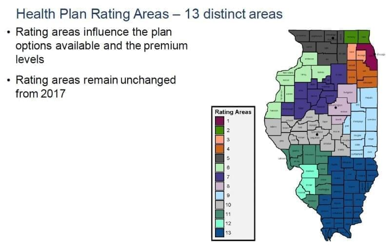This map shows the 13 Rating areas within Illinois. These areas determine rates and options available on health insurance plans.