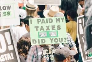 A tax protest in Los Angeles in April.