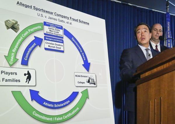 Acting U.S. Attorney for the Southern District of New York Joon H. Kim, second from right, and FBI Assistant Director William Sweeney, Jr., right, hold a press conference to announce the arrest of four assistant basketball coaches from Arizona, Aubur