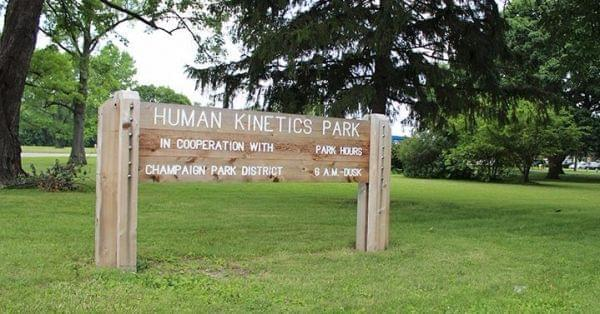 Sign at Human Kinetics Park in Champaign.