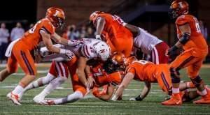 Nebraska Linebacker Chris Weber (49)  tackles Illinois quarterback Chayce Crouch (7) in Nebraska's 28-6 win Friday night.