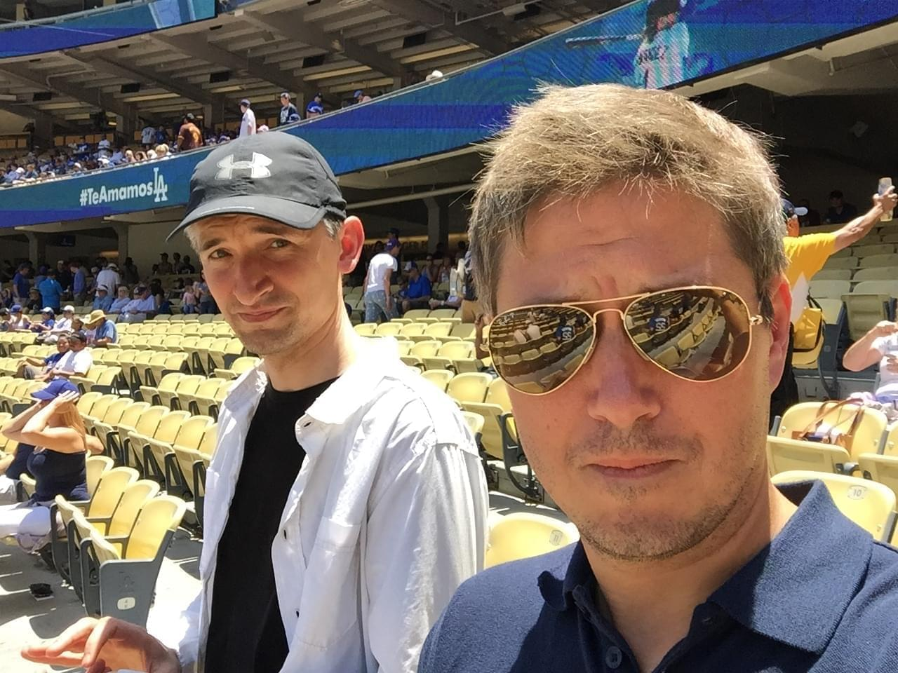 Will Leitch (right) at Dodger Stadium in Los Angeles with Grierson and Leitch podcast co-host Tim Grierson.