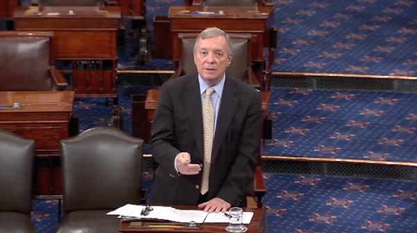 Sen. Dick Durbin speaking Monday on the floor of the U.S. Senate.