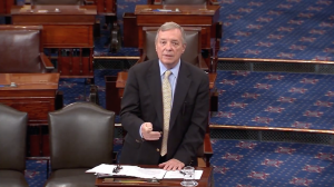 Sen. Dick Durbin speaking Monday on the floor of the U.S. Senate.