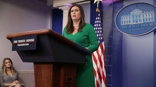 White House Press Secretary Sarah Huckabee Sanders conducts the daily press briefing at the White House October 2, 2017 in Washington, DC.