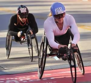 Tatyana McFadden winning the women's wheelchair division of the Chicago Marathon.