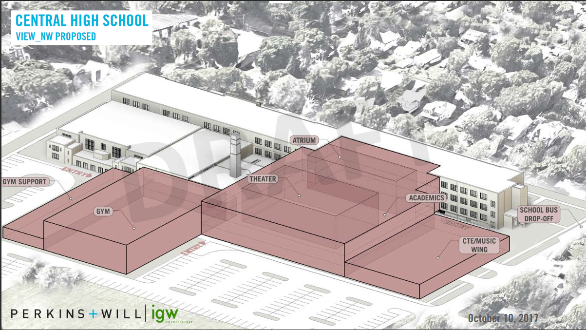 Draft plans for renovation and expansion of Champaign Central High School, as presented on October 10, 2017.