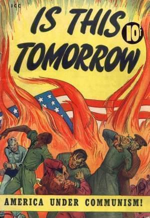 Poster showing communists attacking Americans