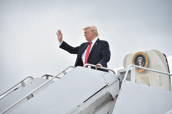 President Trump arrives on Long Island to deliver remarks on law enforcement at Suffolk Community College in Ronkonkoma, N.Y., on July 28.
