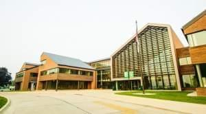 View of the main entrance to Parkland College in Champaign,