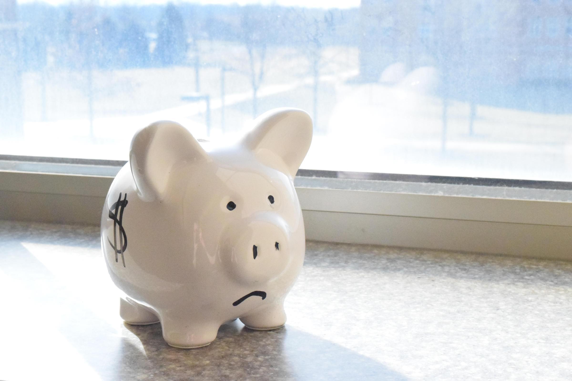 Sad face piggy bank.