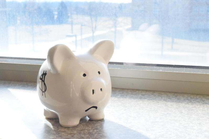 Sad face piggy bank.