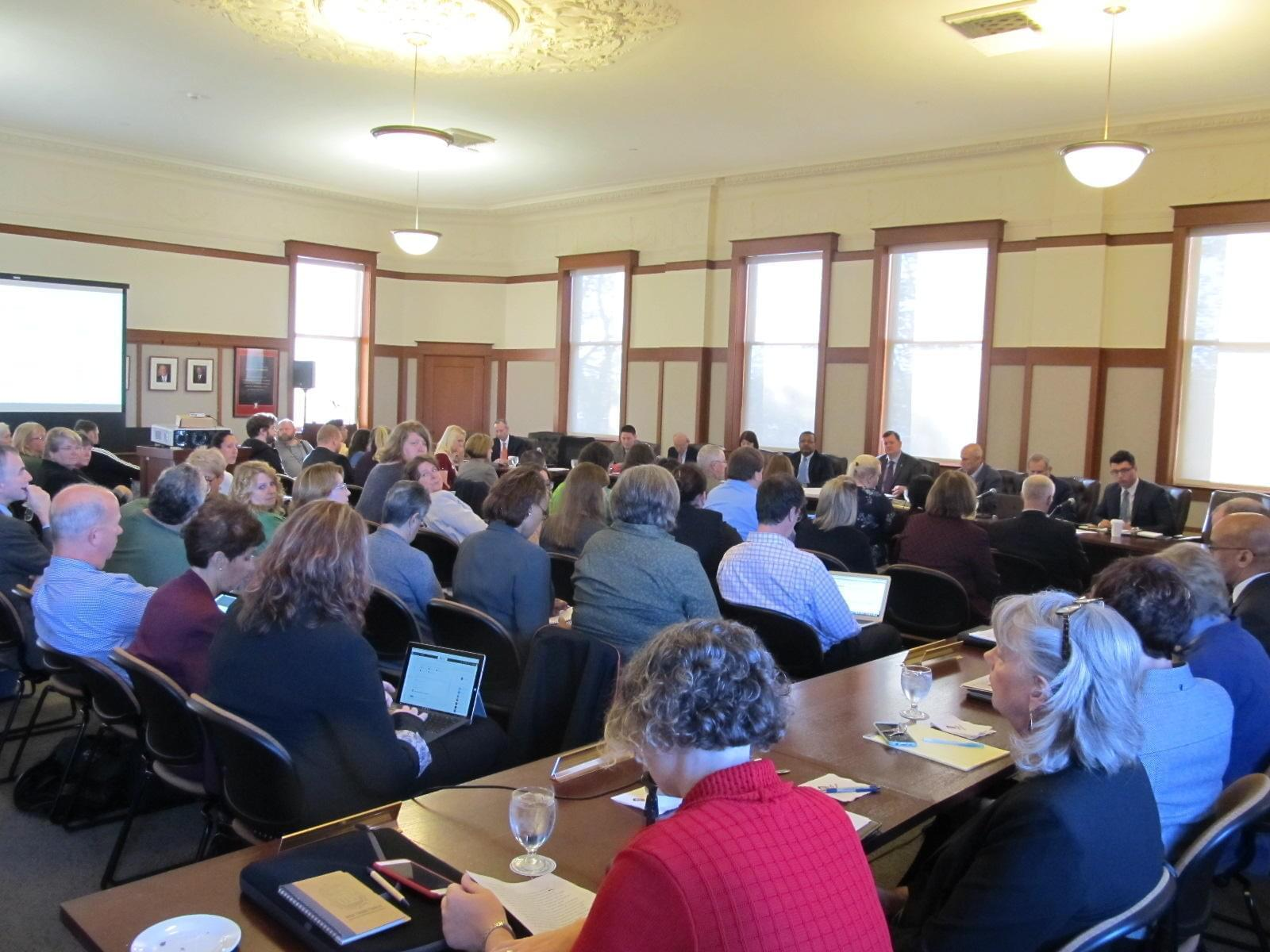 The special meeting of the NIU Board of Trustees drew a full house to the Altgeld Hall board room Thursday morning.