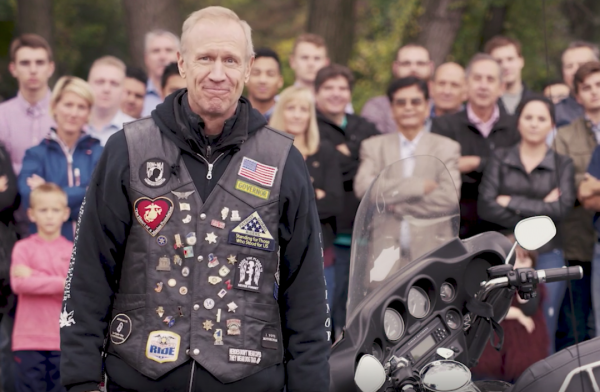 A screen shot from Governor Bruce Rauner's re-election announcement video released Monday morning.