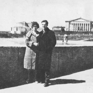 Lee Harvey Oswald and his Russian wife Marina pose on a bridge walk in Minsk during their stay in the Soviet Union.