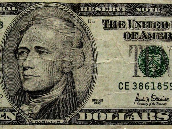 Part of a ten dollar bill.