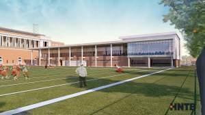 Rendering of the exterior of the proposed U of I Football Performance Center to be completed in 2019.