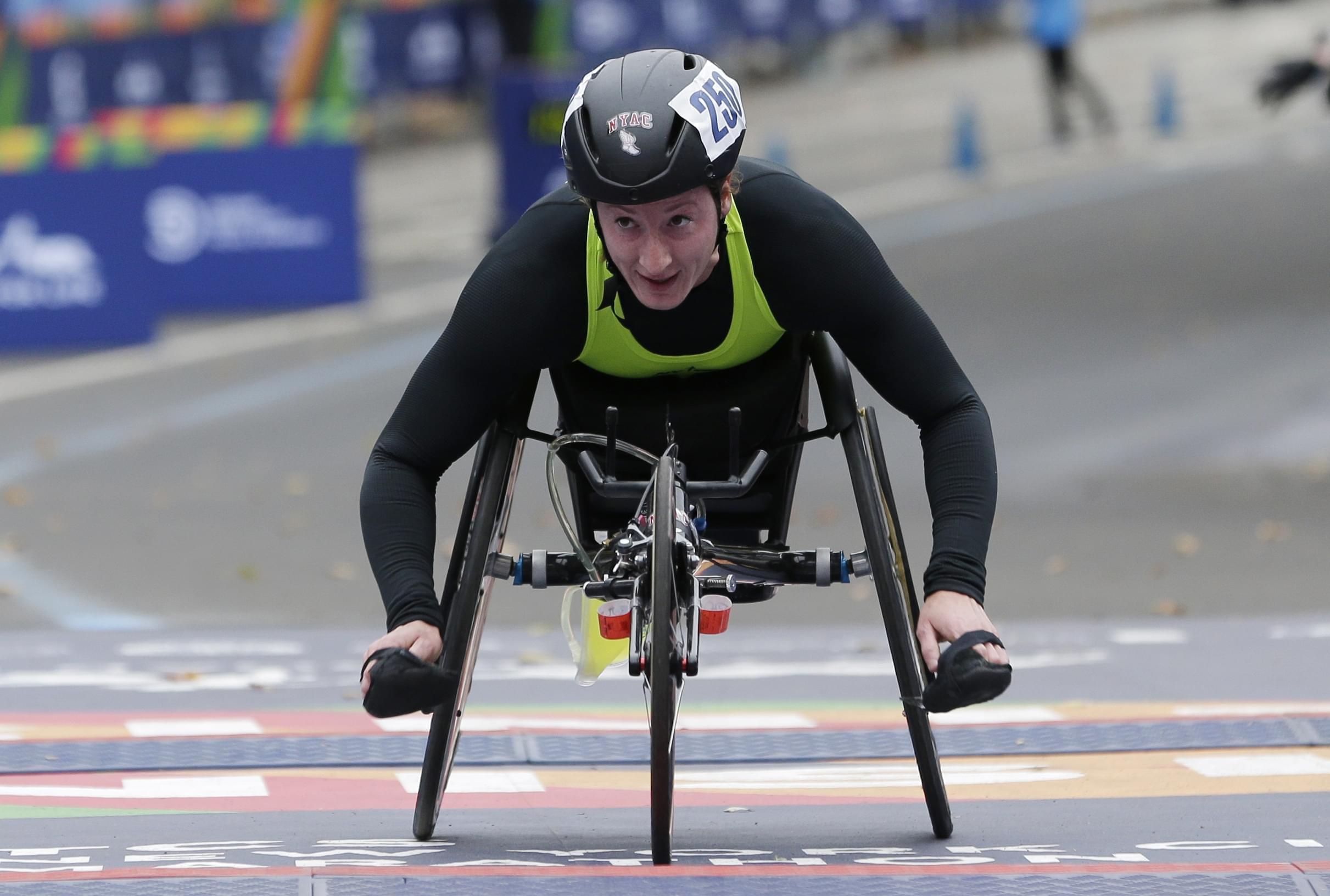 Tatyana McFadden finishing second in the New York City Marathon women's wheelchair division.