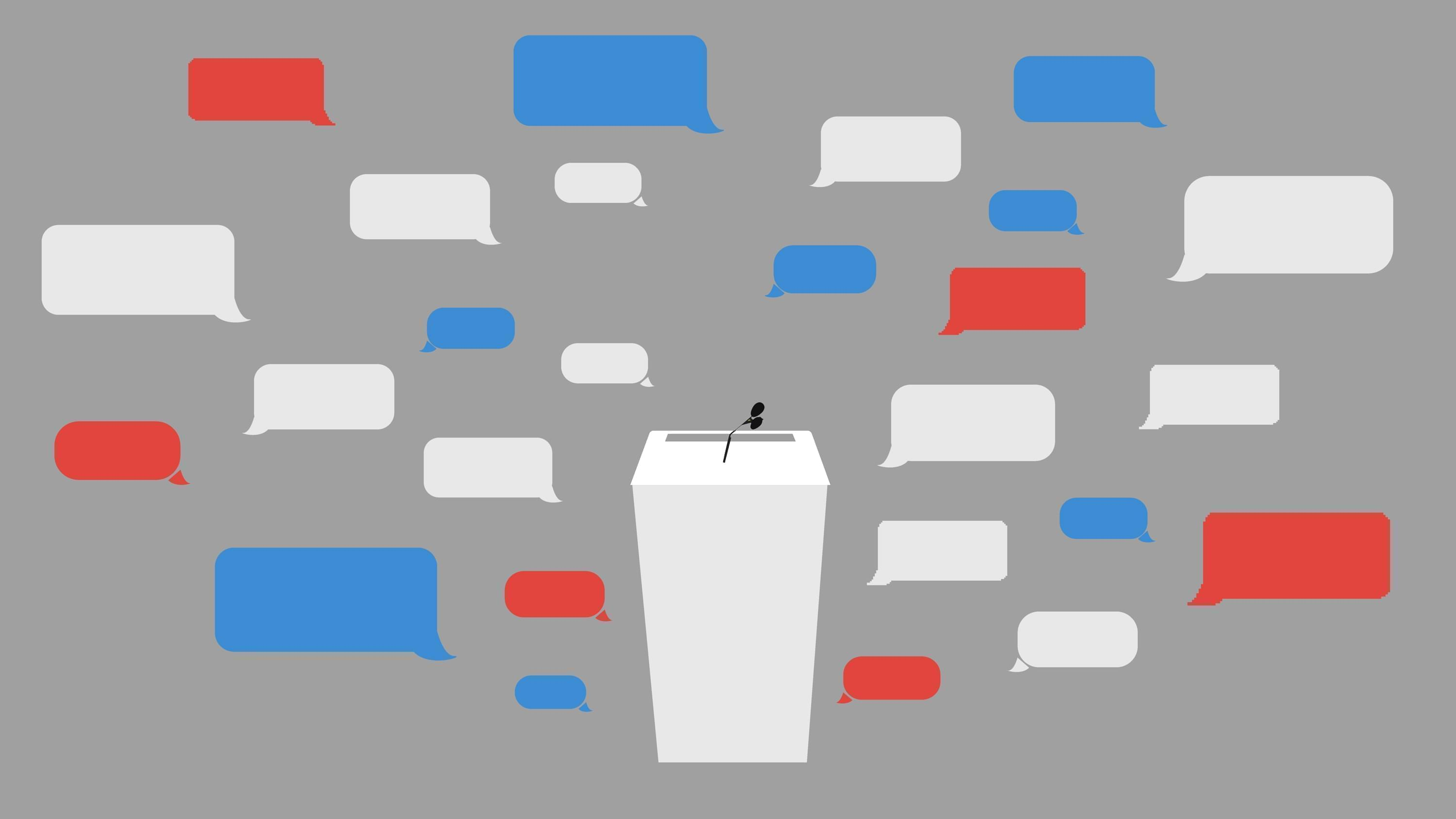 Podium with red, white, and blue word bubbles.