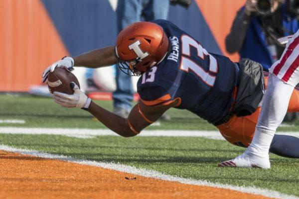 Illinois tight end Caleb Reams (13) dives in the end zone for a touchdown during the fourth quarter of an NCAA college football game against Illinois, Saturday, Nov. 11, 2017 at Memorial Stadium in Champaign, Ill. Indiana defeated Illinois 24-14.