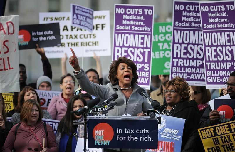 Rep. Maxine Waters, D-Calif., addresses a rally against the Republican tax plan outside the U.S. Capitol on Nov. 1.