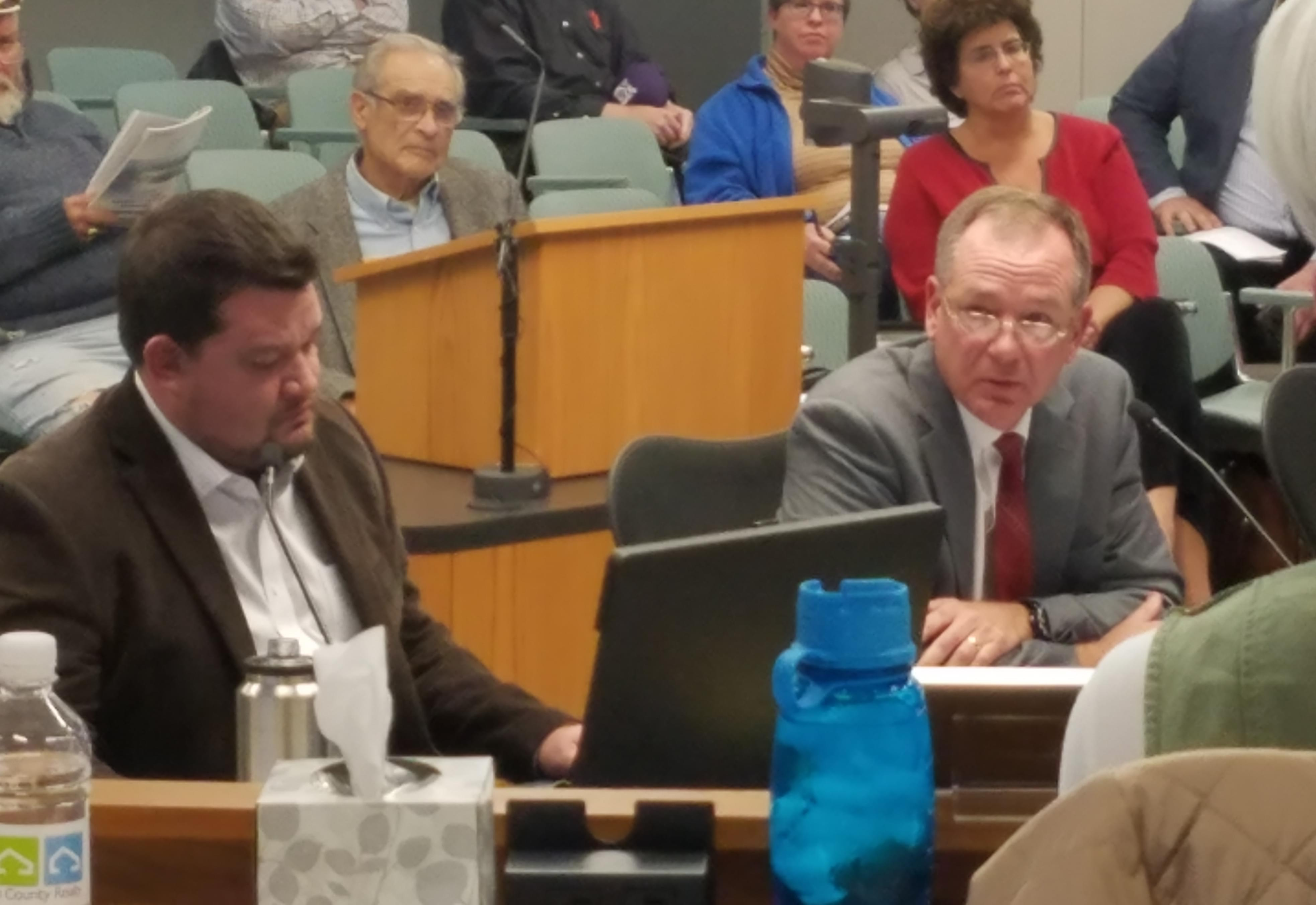 Champaign Unit Four School Board President Chris Kloeppel and attorney Patrick Fitzgerald, testifying before the Champaign Plan Commission.
