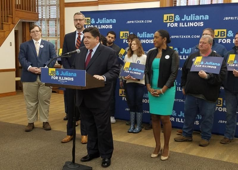Democratic gubernatorial hopeful J.B. Pritzker campaigns at the University of Illinois with State Treasurer Mike Frerichs  and running mate & St. Rep. Juliana Stratton