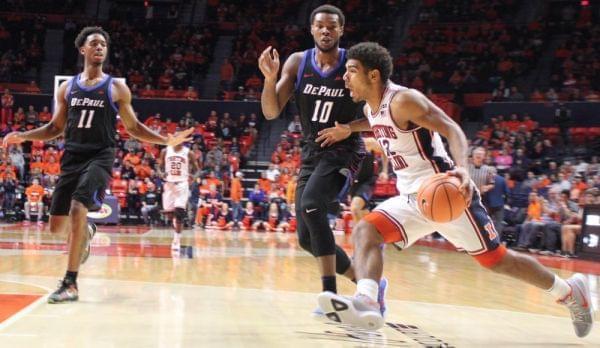 Illini freshman Mark Smith drives to the basket.