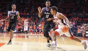 Illini freshman Mark Smith drives to the basket.