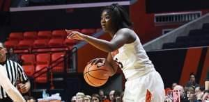 Senior Kennedy Cattenhead directs traffic for Illinois during a 74-62 win over Bradley.