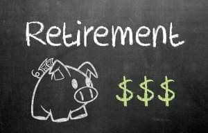 Illustration of piggy bank and dollar signs with the word retirement.