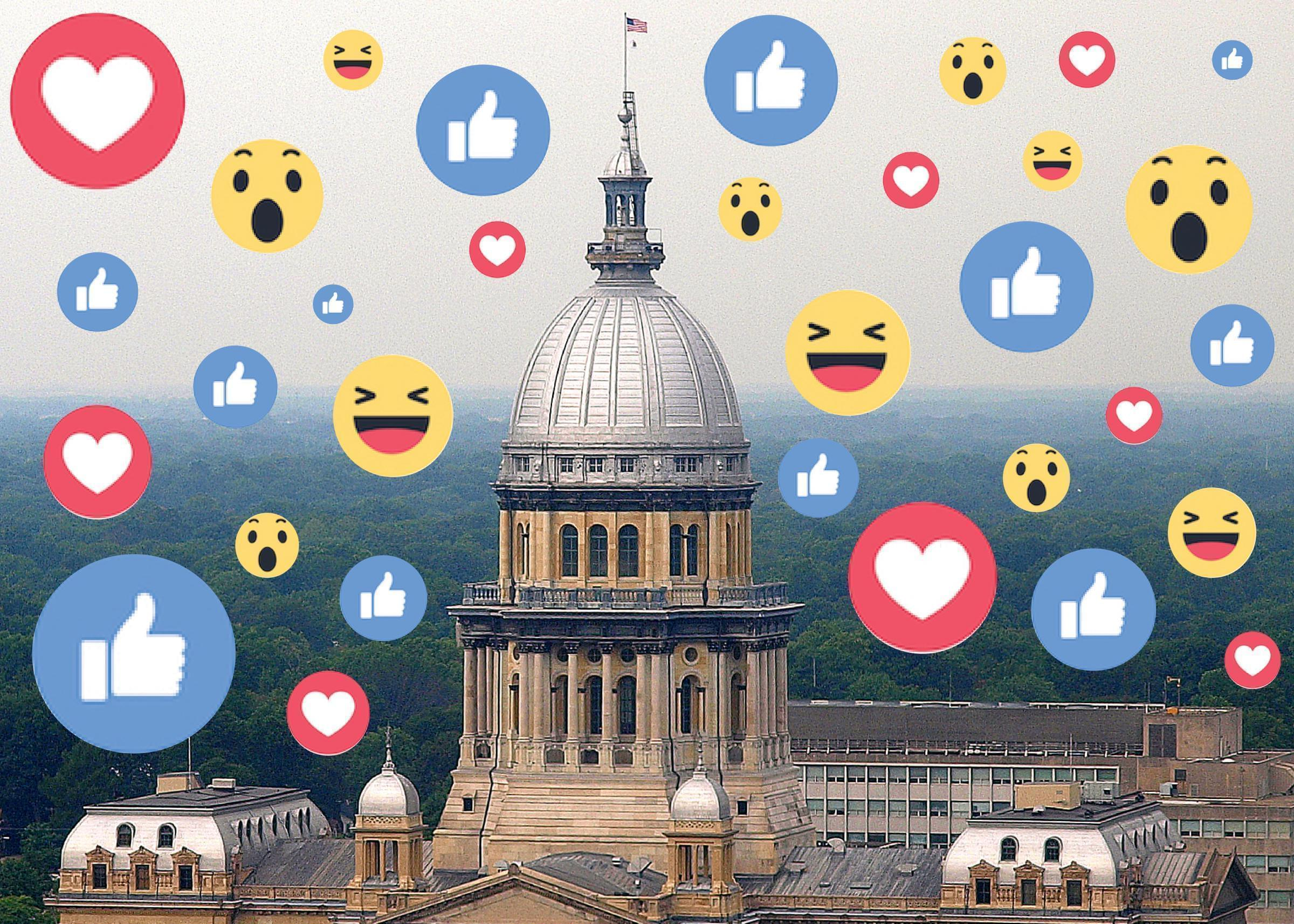 Illustration of state capitol with Facebook emojis.