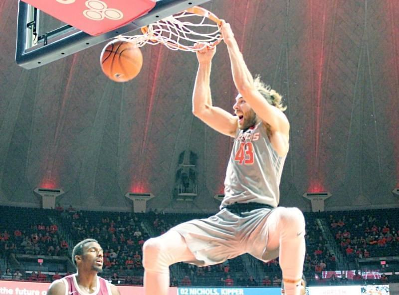 Illini forward Michael Finke slams home two of his 22 points in an 86-73 win over NC Central Friday night in Champaign.