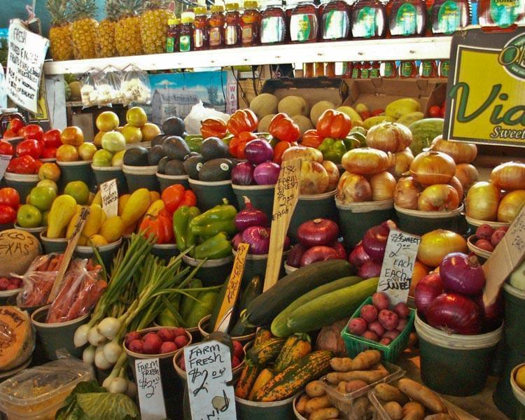 Fruits and vegetables in a produce market