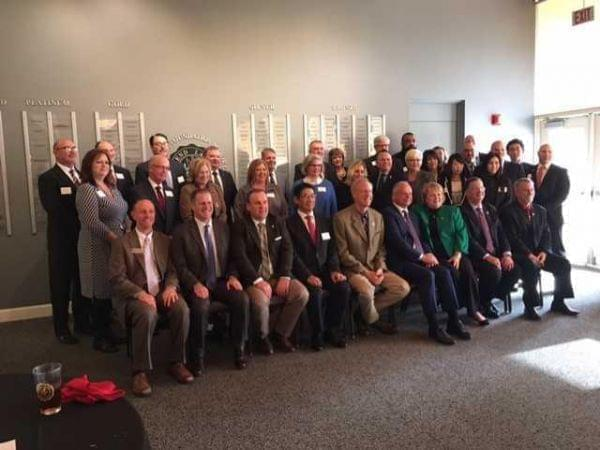 The group of education, business and political leaders at Rend Lake College event on Wed., Nov. 29, 2017.
