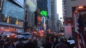After an explosion a block away, police swarmed through Times Square in Manhattan.
