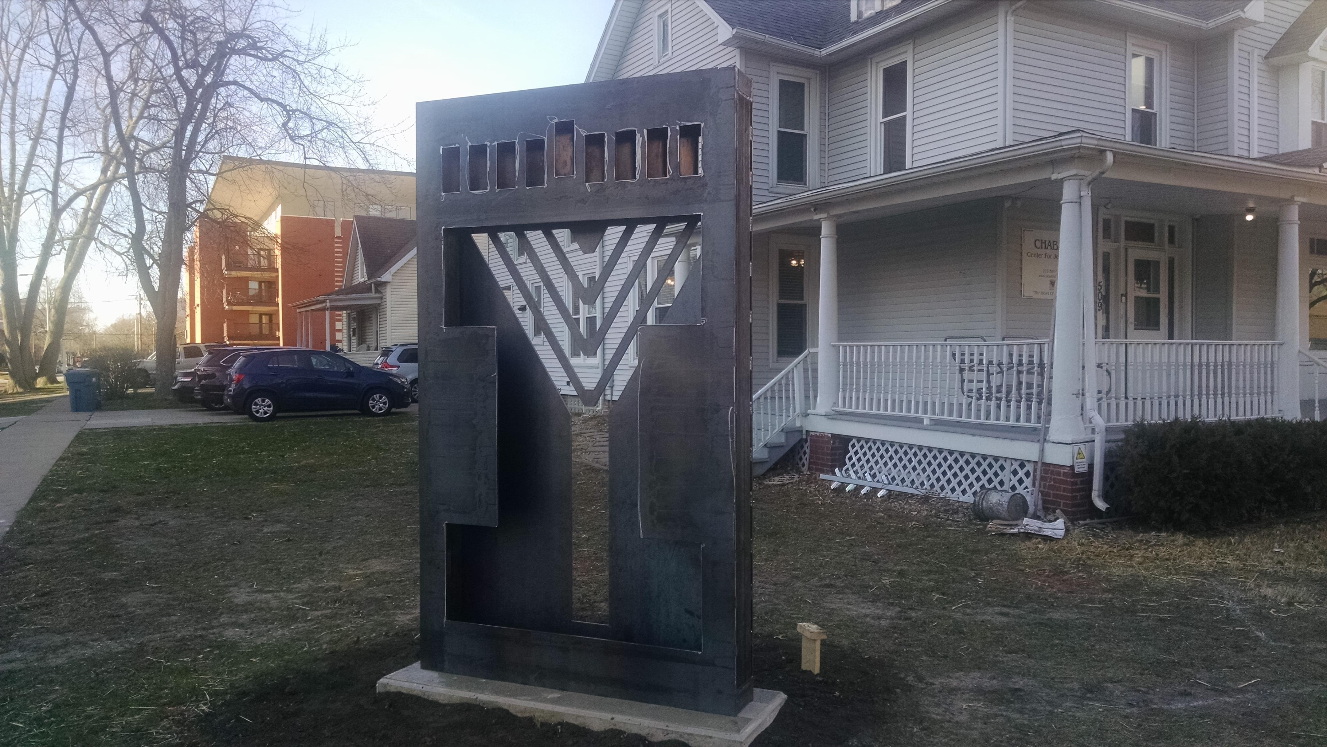 The New Illini Chabad Center for Jewish Life menorah