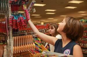 People shop for school supplies.