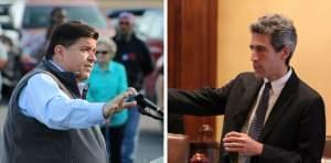 J.B. Pritzker, left, has pledged to help Democrats get elected across the state. State Sen. Daniel Biss, right, says Democrats shouldn't have to depend on ultra-wealthy benefactors to fund the party.