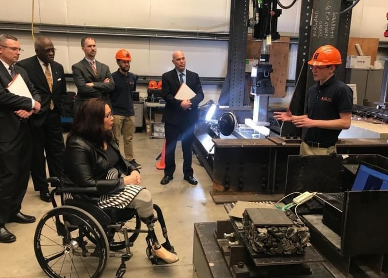 Sen. Tammy Duckworth, visiting the University of Illinois RailTEC Center in Champaign.