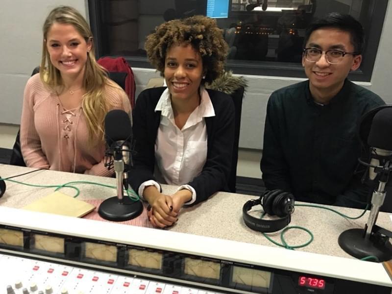 Three students in a radio studio