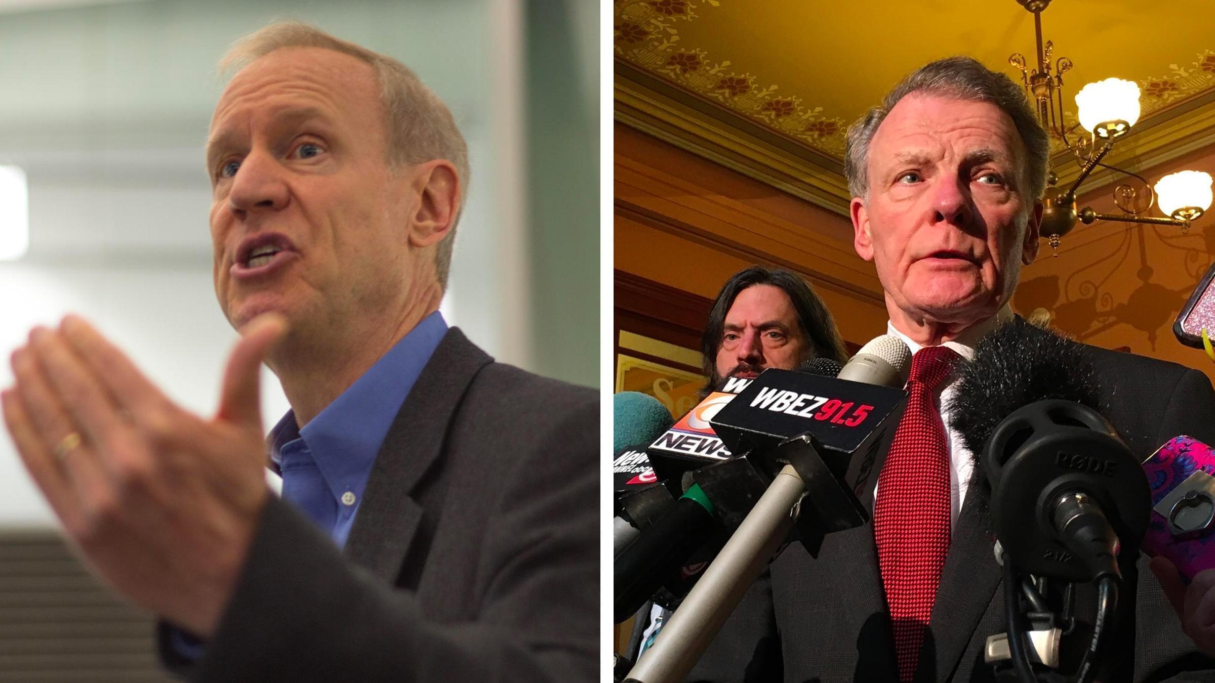 Governor Bruce Rauner and House speaker Michael Madigan