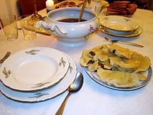 A Christmas dinner table.